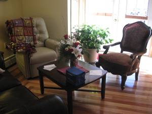 Our inviting living room with good space for family.